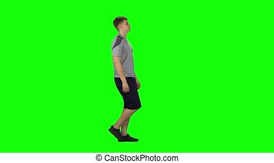 man, groene, aanzicht, screen., wandelende, jonge, profiel, bovenkant