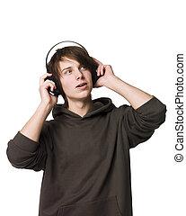 man, muziek, luisteren