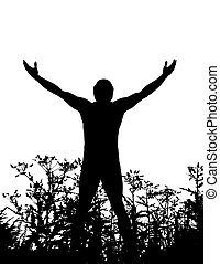 man, natuur, staand, silhouette