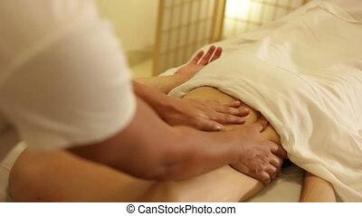 man, pijn, achtermassage, hebben