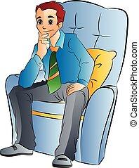 man, stoel, zacht, illustratie, zittende
