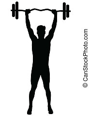 man, uit, werkende , fitness