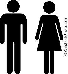 man, vector, meldingsbord, vrouw