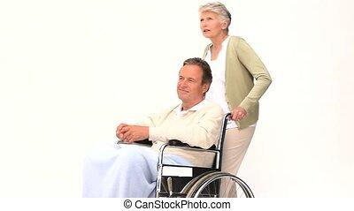 man, vrouw, zijn, wheelchair