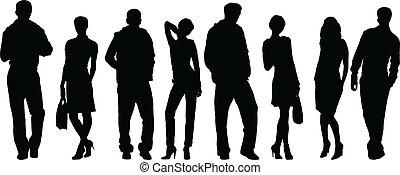 man, vrouwen, verzameling, mode