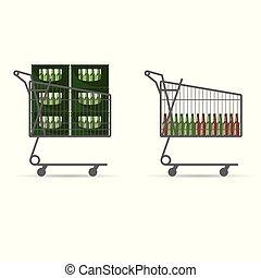 mand, bier, shoppen , fles, illustratie