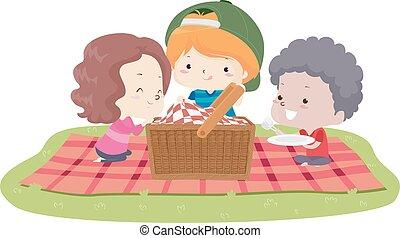 mand, illustratie, geitjes, deken, picknick