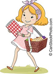 mand, meisje, geitje, picknick, wandeling