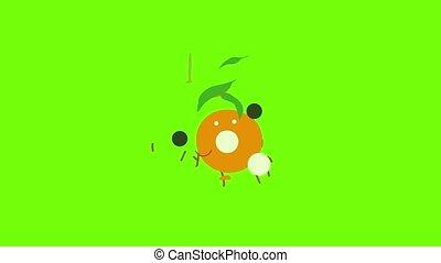 mandarijn, animatie, pictogram