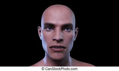 mannelijke , animatie, digitale , gezicht, morphing, 3d