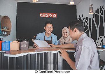 mannelijke , bestellen, klant, koffie