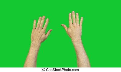 mannelijke , groene achtergrond, handen