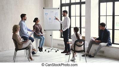 mannelijke , onderwijs, spreker, geven, bekwaam, marketing, gebaard, lecture., duizendjarig