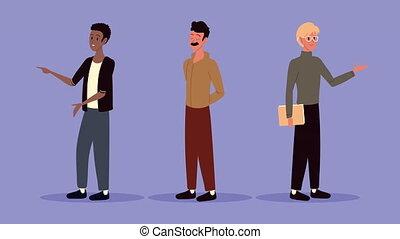 mannen, animatie, interracial, staand, jonge, karakters