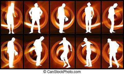 mannen, dancing, silhouettes, animatie, twaalf