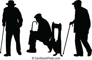 mannen, oud, stok