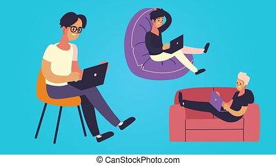 mannen, seated, laptops, jonge, gebruik