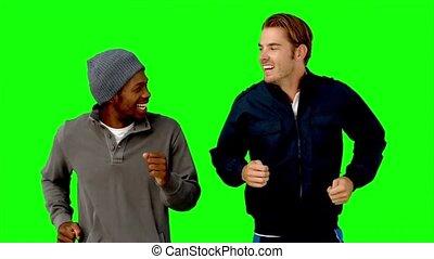 mannen, twee, groene, scherm, rennende
