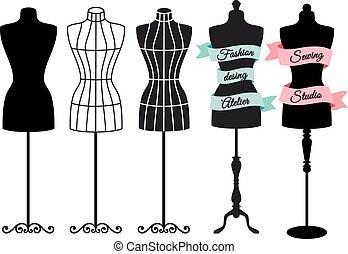 mannequins, vector, mode, set