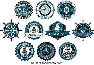 marinier, cirkel, heraldisch, etiketten