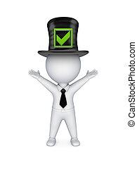 mark., hoogste-hoed, persoon, groene, kleine, tick, 3d