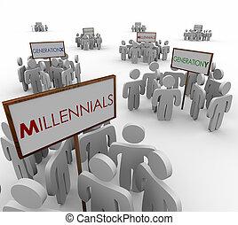 marke, mensen, generatie, demografisch, jonge, millennials, groepen, y, x