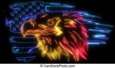 markeer op, amerikaan, animatie, digitale , adelaar, verlichting, stijl, neon