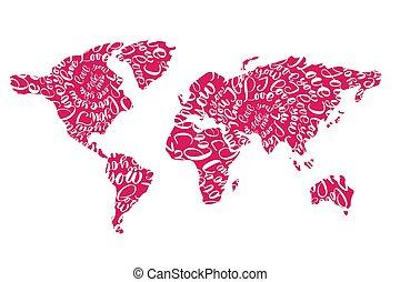 markeringen, hartjes, liefde, vector, wereld, roze, plat, u, kaart, illustratie, valentines, day.