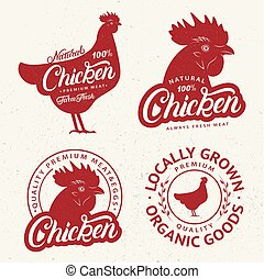 market., set, winkel, logos, afdrukken, etiketten, slager, farmer, affiches, chicken