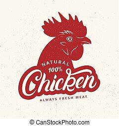 market., winkel, poster, slager, etiket, farmer, chicken, afdrukken, logo