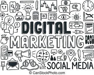 marketing, communie, set, digitale , doodle
