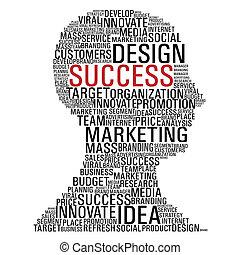 marketing, hoofd, succes, communicatie