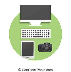 marketing, items, icons., kantoor, zakelijk