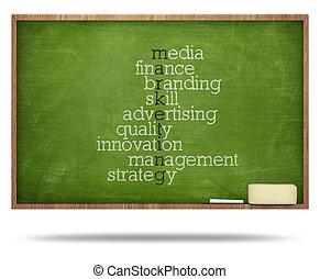 marketing, raadsel, woord, bord