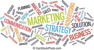 marketing, woord, zakelijk, wolk, strategie