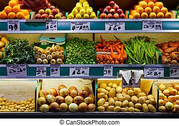 markt, fruit, verse grostes