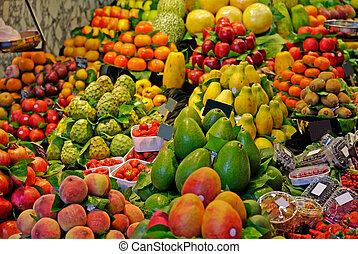 markt, la, boqueria, barcelona, focus., beroemd, selectief, wereld, spain., fruits.