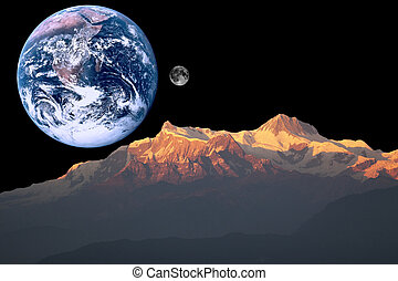 mars, aarde, maan