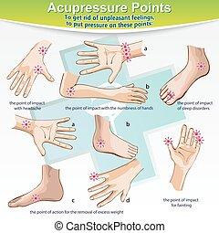 masseren, punten, therapie, acupressure