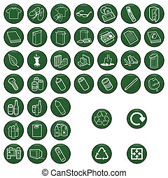 materiaal, set, pictogram, recyclable
