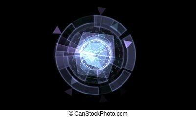 materialen, def, blauwe , software, omwenteling, glas, interface