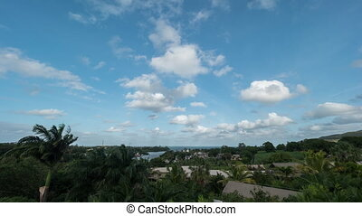 mauritius, eiland, op, timelapse bewolkt