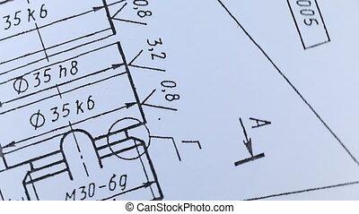 mechanische tekening, detail, bankstel, ronddraaien
