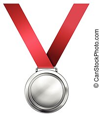 medaille, zilver, lint, rood