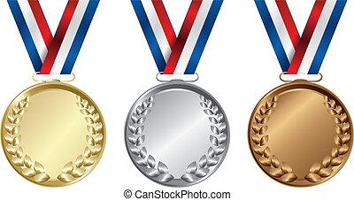 medailles, drie, goud, winnaars, zilver, brons