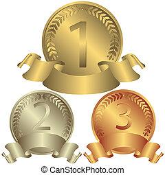 medailles, zilver, brons, (vector), goud