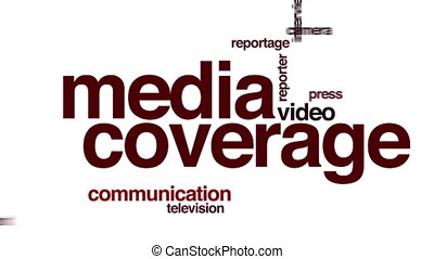 media, geanimeerd, woord, dekking, cloud.