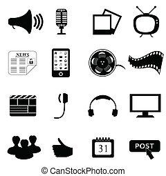 media, multimedia, of, iconen