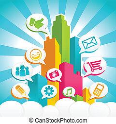 media, sociaal, kleurrijke, stad