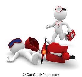 medisch, isoleren, noodgeval, services.